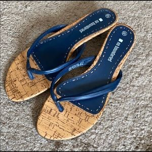 Navy and chestnut sandals